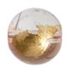 Glass Bead Round 12mm 8'' strand Pink/Gold